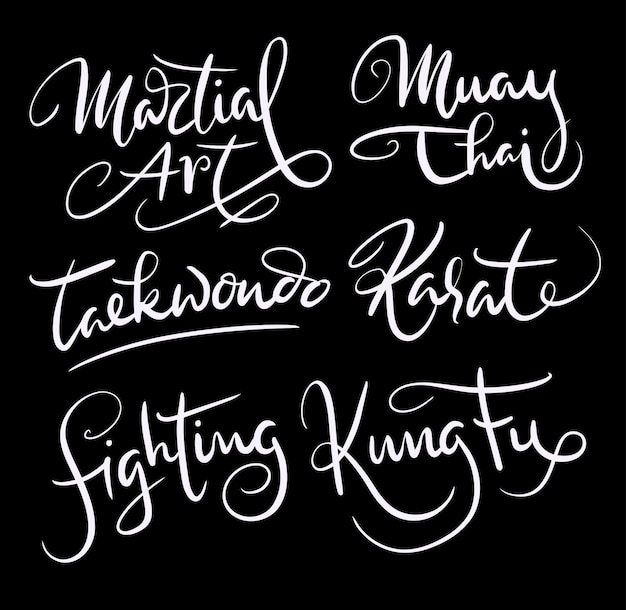 Martial art and kung fu handwriting calligraphy