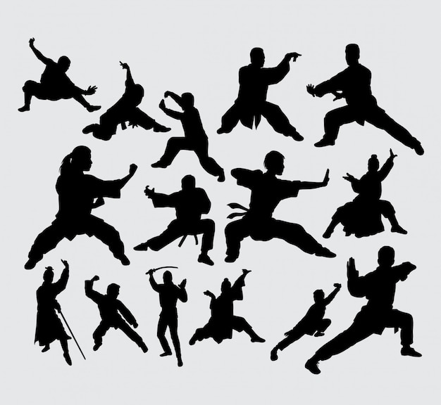 Martial art and kungfu action silhouette