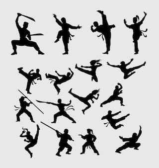Martial art and kungfu silhouette