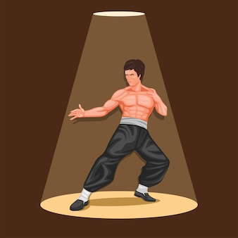 Martial art legend figure concept in cartoon