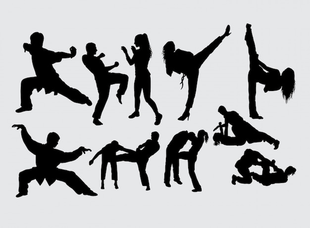 Martial art male and female sport silhouette