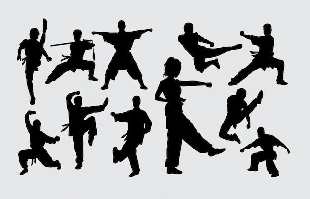Martial art pose male and female silhouette