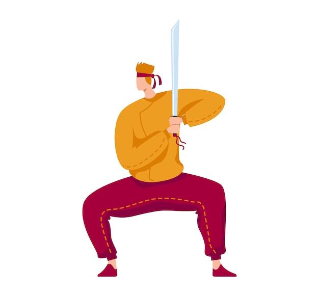 Боевое искусство, профессиональный боец самураев, бой катана, традиционное оружие, иллюстрация в мультяшном стиле, изолированные на белом. человек с острым мечом учится драться лезвиями, активный образ жизни