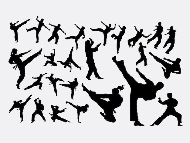 Martial art sport silhouette