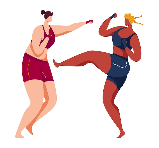 Martial art, taekwondo sports, pain kick, wrestling training, aggressive attack, cartoon illustration, isolated on white. woman sportsman attacks, defense exercise gym, girl proesional fighter.