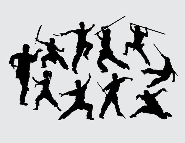 Martial art using weapon training sport silhouette