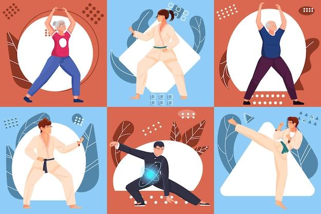 Composizioni di arti marziali set piatto con persone di età diverse in abbigliamento sportivo