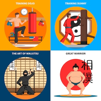 Martial arts concept icons set