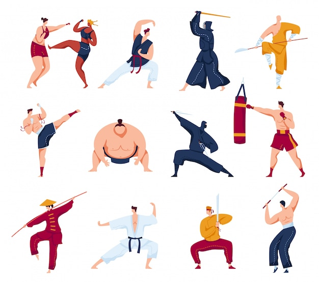 Martial arts  illustration set, cartoon  collection with active fighter characters, people in kimono training or fighting