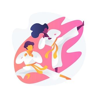 무술 학교. 가라테 킥과 자세. 쿵후 훈련. 태권도 연습, 주짓수 선수, 유도 수업. 기모노를 입은 파이터. 신체 활동.