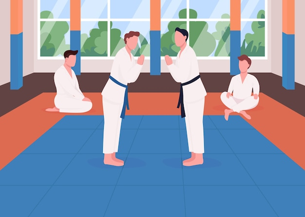 무술 훈련 평면 컬러 일러스트입니다. 쿵푸 학교. 태권도 대회. 선수는 싸움을 준비합니다. 배경에 도장 인테리어와 가라테 학생 2d 만화 캐릭터