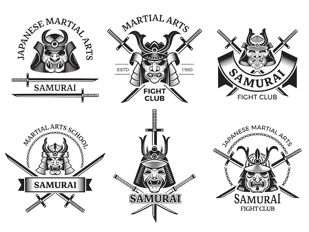 Martial asian labels. samurai agressive warrior masks and sword katana  labels logo or tattoo s