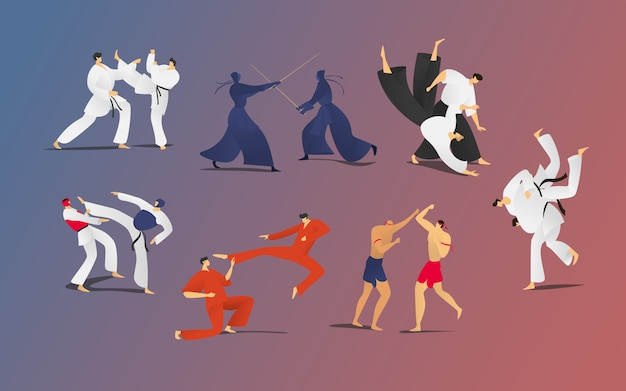 Martial battle sparring people illustration set, cartoon two fighter characters, men in kimono self defense presentation