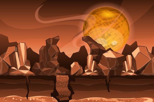 화성의 풍경. 산과 돌.