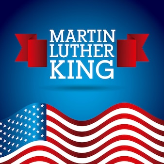 Martin luther king poster flag united states of america