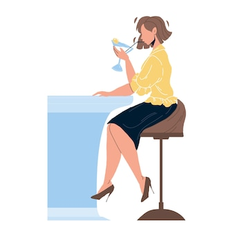 Martini beverage drink girl at bar counter vector. young woman drinking alcoholic dry cocktail martini, prepared from vermouth and olives. character with alcohol liquid flat cartoon illustration