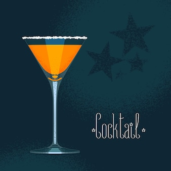 Martini cocktail glass with orange drink illustration