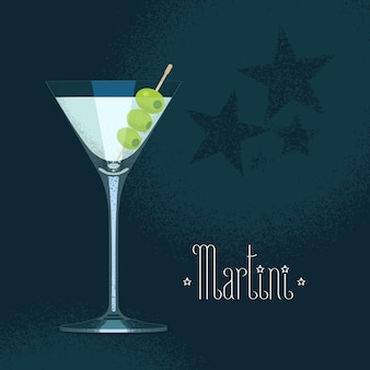 Martini cocktail glass with three olives.
