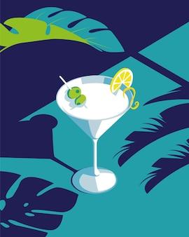 Martini drink illustration for summer
