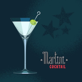 Martini glass with olives on stick illustration