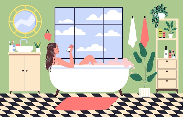 Martphone addiction  . young woman spend time surfing the internet lying in the bathtub. girl taking bath in the bathtub with mobile phone in the hand.  illustration