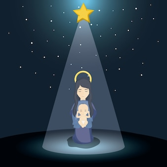 Mary and baby jesus cartoon icon. Holy family and merry christmas season theme. Colorful design. Vec