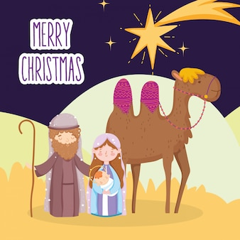 Mary joseph and baby jesus with camel star desert nativity, merry christmas