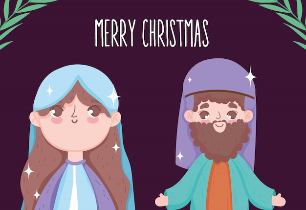 Mary and joseph cartoon manger nativity, merry christmas