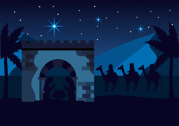 Mary and joseph with jesus and magicians kings