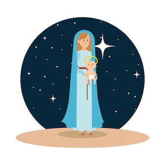 Мэри девственница с ребенком джезуса в ночное время