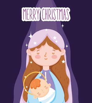 Mary with baby jesus manger nativity, merry christmas
