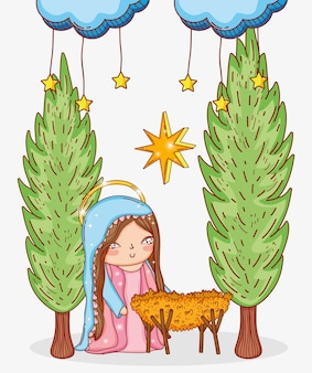 Mary with cradle and clouds stars and trees