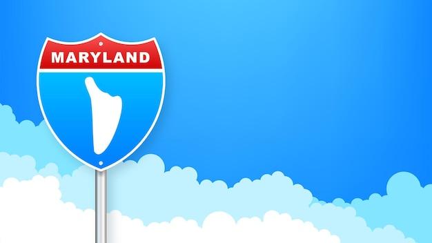 도 표지판에 메릴랜드 지도입니다. 메릴랜드 주에 오신 것을 환영합니다. 벡터 일러스트 레이 션.