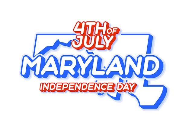 Maryland state 4th of july independence day with map and usa national color 3d shape of us