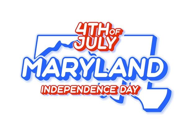 Штат мэриленд 4 июля в день независимости с картой и национальным цветом сша 3d-формой сша