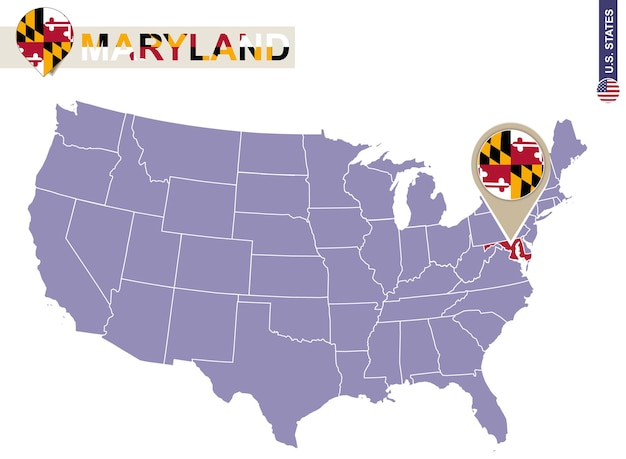 Maryland state on usa map. maryland flag and map. us states.