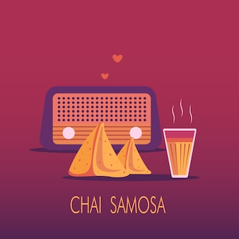 インドのmasala chaiとsamosa snackのバックグラウンドでのラジオ