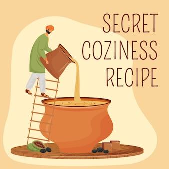 Masala tea social media post . secret coziness recipe phrase. web banner design template. indian beverage booster, content layout with inscription.
