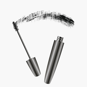 Mascara brush strokes realistic womens cosmetics for eyes banner for magazine advertising