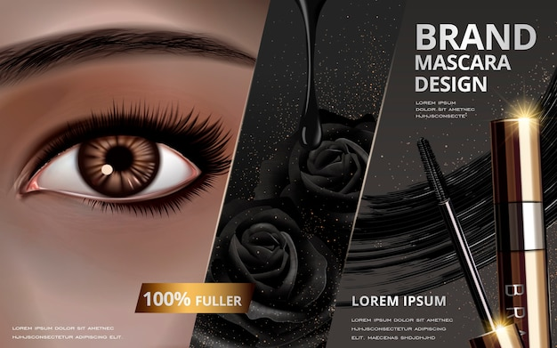 Mascara design picture separated into three parts