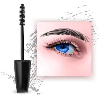 단일 파란 눈과 속눈썹 3d 일러스트와 함께 마스카라 디자인 사진