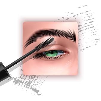 広告用の単一の青い目とまつげのマスカラデザイン画像