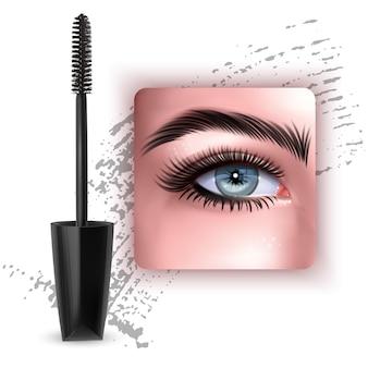 Mascara design picture with single blue eye and eyelash   3d illustration
