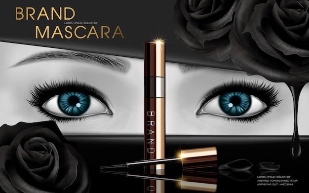 Дизайн туши с голубыми глазами и черной розой