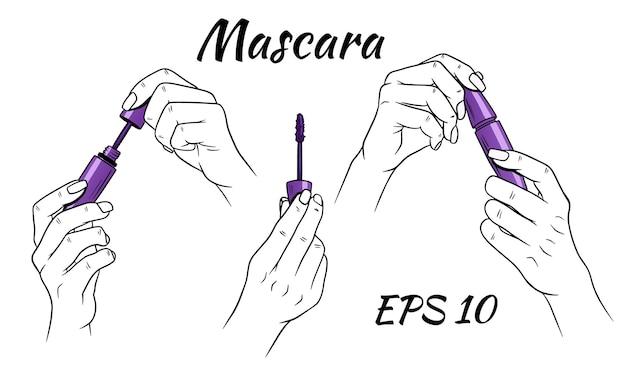 Mascara in hands. cosmetics for women. cartoon style.