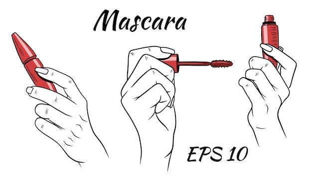 手にマスカラ。女性のための化粧品。漫画のスタイル。
