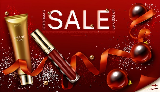 Mascara and lip gloss christmas cosmetics gifts, christmas sale banner template