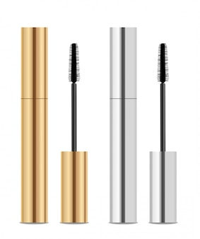 Mascara packaging. gold and silver colors.