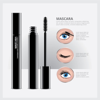 Mascara packaging with eye makeup