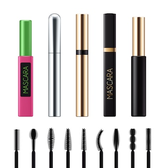 Mascara tubes with brushes set.